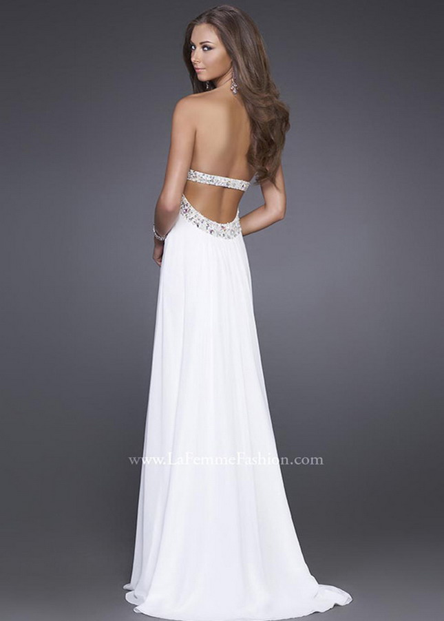 White Sequined Strapless Open Back Long 15027 Prom ...