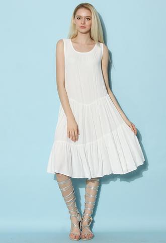 dress chicwish white dress ruffle breeze dress retro dress chicwish.com