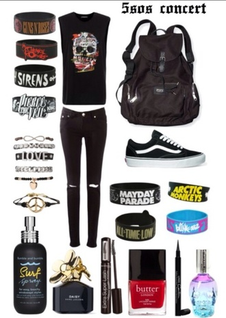 jewels all time low nirvana band 5 seconds of summer sleeping with sirens pierce the veil arctic monkeys mayday parade blink 182 concert black ripped jeans vans rock punk rock all black everything