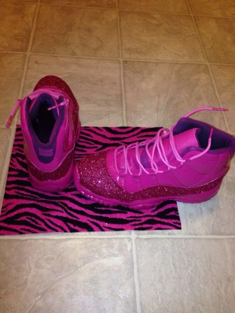 shoes pink shoes jordan 11s sparkle