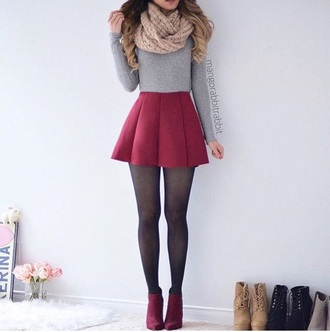 skirt cute outfits tumblr girly shirt red grey grey sweater top grey top tights black red shoes red skirt pleated outfit winter outfits cozy scarf sweater cropped sweater crop tops cropped grey crop top boots booties beige skater skirt long sleeves pleated skirt infinity scarf circle skirt grey cropped sweater long sleeve tops ankle boots outfit idea shoes