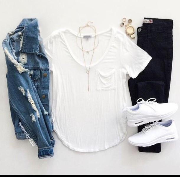 competitive price 9772d f753b jacket t-shirt shirt white black white nike air max thea denim jacket blue  frocket