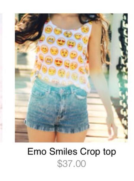 shirt emoji crop top emoji print