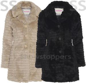 FAUX FUR COAT NEW Womens Size 8 10 12 14 16 Ladies JACKET Winter | eBay