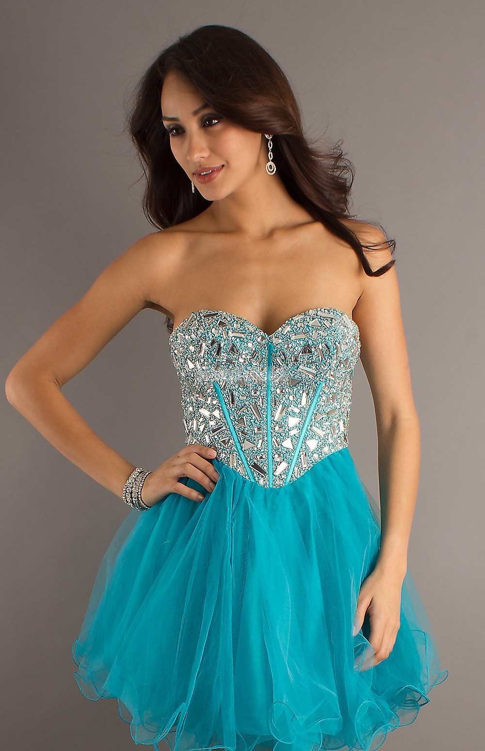 Lace-up Tulle Baby Doll Ruching Beading Cocktail Dress - Promdresshouse.com