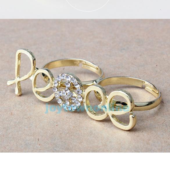 New Gold Anti War Rhinestone Peace Sign Adjustable Double Finger Ring | eBay