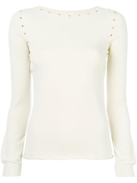 Twin-Set - slash-neck studded sweater - women - Polyester/Viscose - XL, Nude/Neutrals, Polyester/Viscose