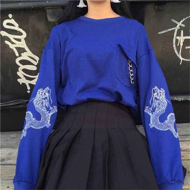 sweater girly sweatshirt blue oversized sweater oversized jumper tumblr dragons