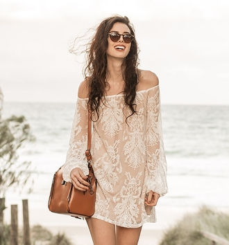 dress summer beach lace fashion style white beige off the shoulder