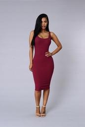 dress,burgundy dress,bodycon dress,midi dress