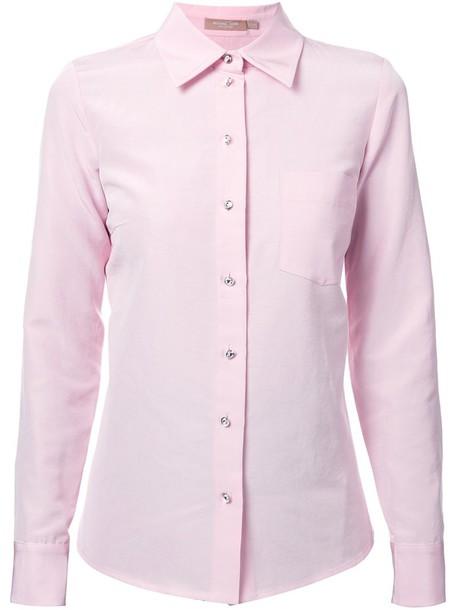 shirt women cotton silk purple pink top