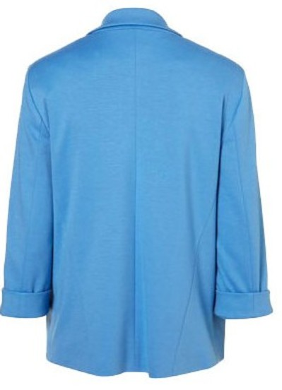 Blue Boyfriend Ponte Rolled Sleeves Blazer - Sheinside.com