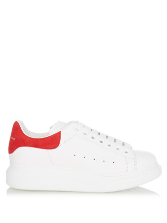 leather white red shoes