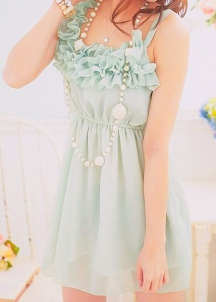 dress blue clothes cute ruffles teal maxi dress mint seafoam green green dress