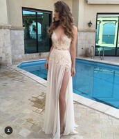 dress,nude champagne lace appliqué chiffon   celebrity,promdress2016 prom dress,a-line,prom dress,i need this help,maxi dress,a line prom gowns,sexy dress,white prom dress,plunge v neck,slit dress,white lace dress,romantic dress