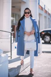 hallie daily,blogger,coat,jeans,shoes,bag,sunglasses,white bag,chanel bag,blue coat,fall outfits