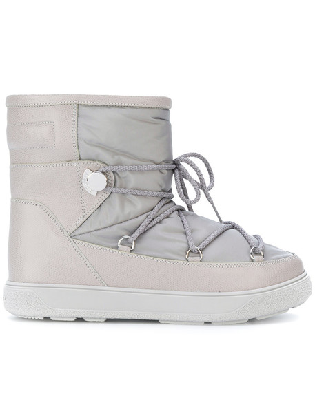 moncler snow boots women snow leather grey shoes