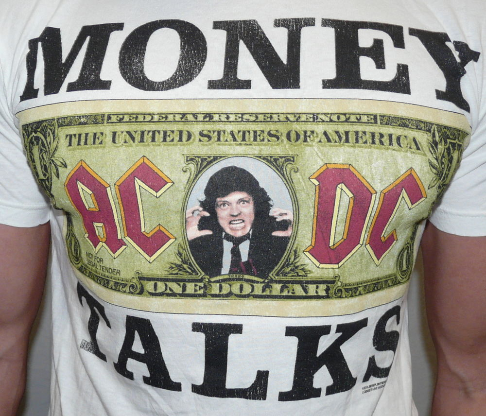 "Urban Outfitters ACDC ""Money Talks"" White Graphic Tee T Shirt s M L XL 