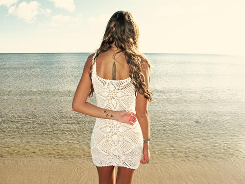 emmaoclothing - Handmade crochet mini dress WHITE