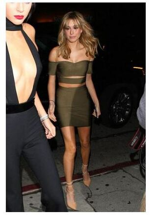 skirt top olive green bodycon bustier hailey baldwin pumps bandeau