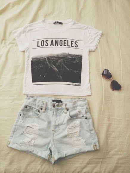 shorts high-wasted denim shorts sunglasses high waisted short t-shirt