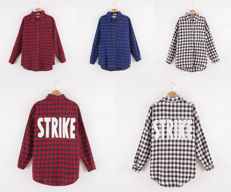 The general strike plaid blouse