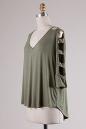 top,olive green,ladder sleeve,v neck,high low hem