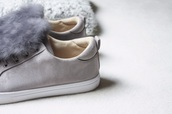 shoes,grey,baskets,buzzao,fur,fall outfits