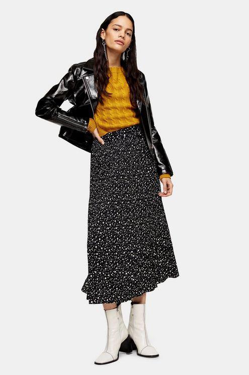 Black Star Tie Pleated Midi Skirt - Black