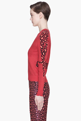 Kenzo Red Leopard Print Accented Sweater for women | SSENSE