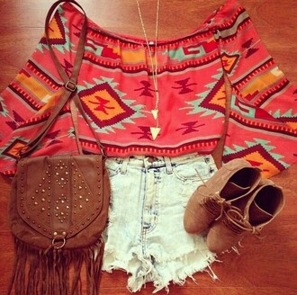 blouse aztec aztec crop top aztec hoodie boho chic boho shirt hippie tribal pattern summer top streetstyle streetwear indie boho coat shorts heels shorts top