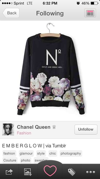 shirt black sweatshirt floral long sleeved