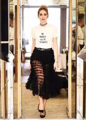 skirt,dior,top,fashion week 2017,the blonde salad,chiara ferragni,see through,fashion week,feminist tshirt,t-shirt
