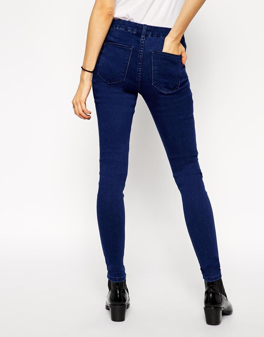 Asos premium stretch jean jegging in rich blue at asos.com