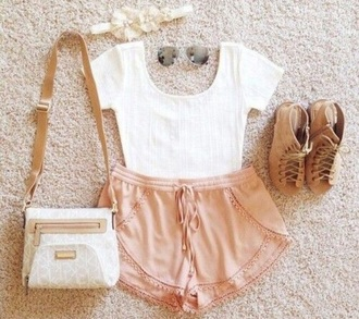 shorts pink salmon flowwy flowy summer cute outfit crop tops mini pocket pockets design light pink beige shoes