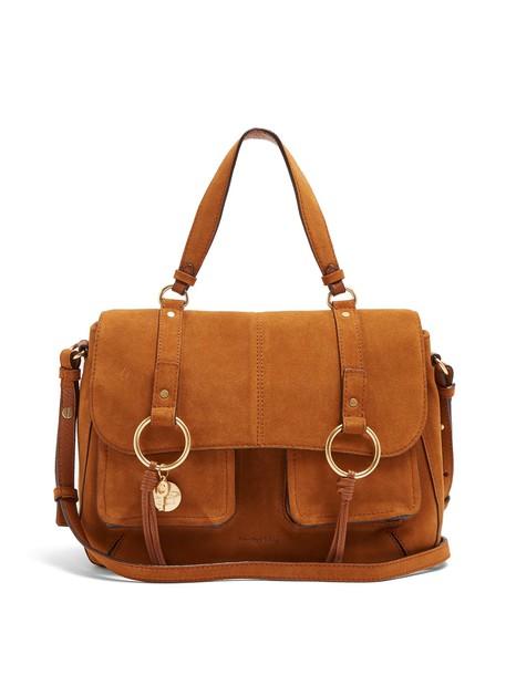 See by Chloe satchel cross bag suede tan