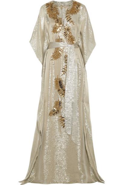 oscar de la renta gown metallic embellished gold silk dress