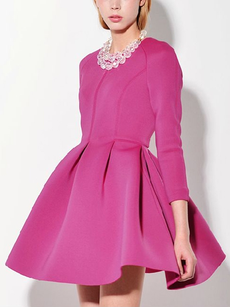 Long Sleeve Slim Dress with Skater Skirt in Peach | Choies