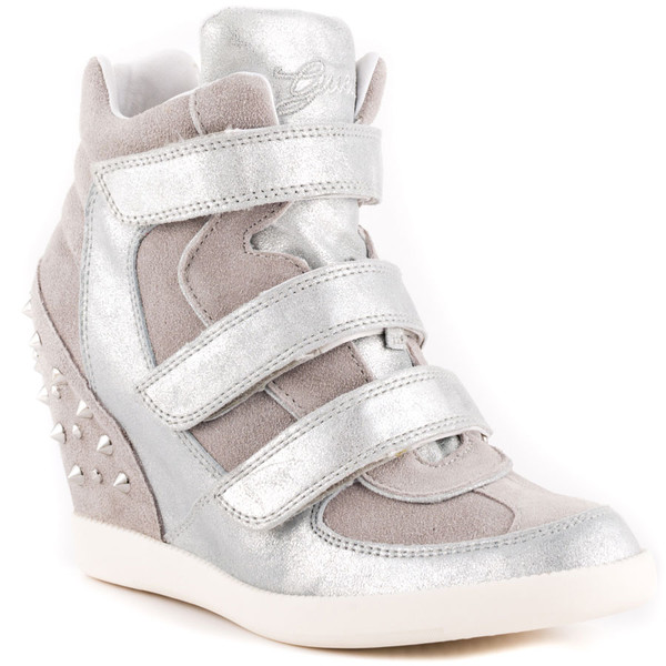 shoes guess sneaker wedge siver spiked