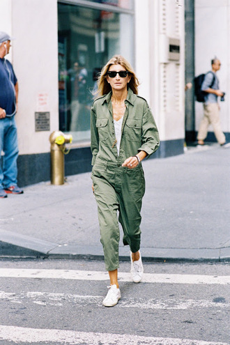 vanessa jackman blogger jumpsuit army green