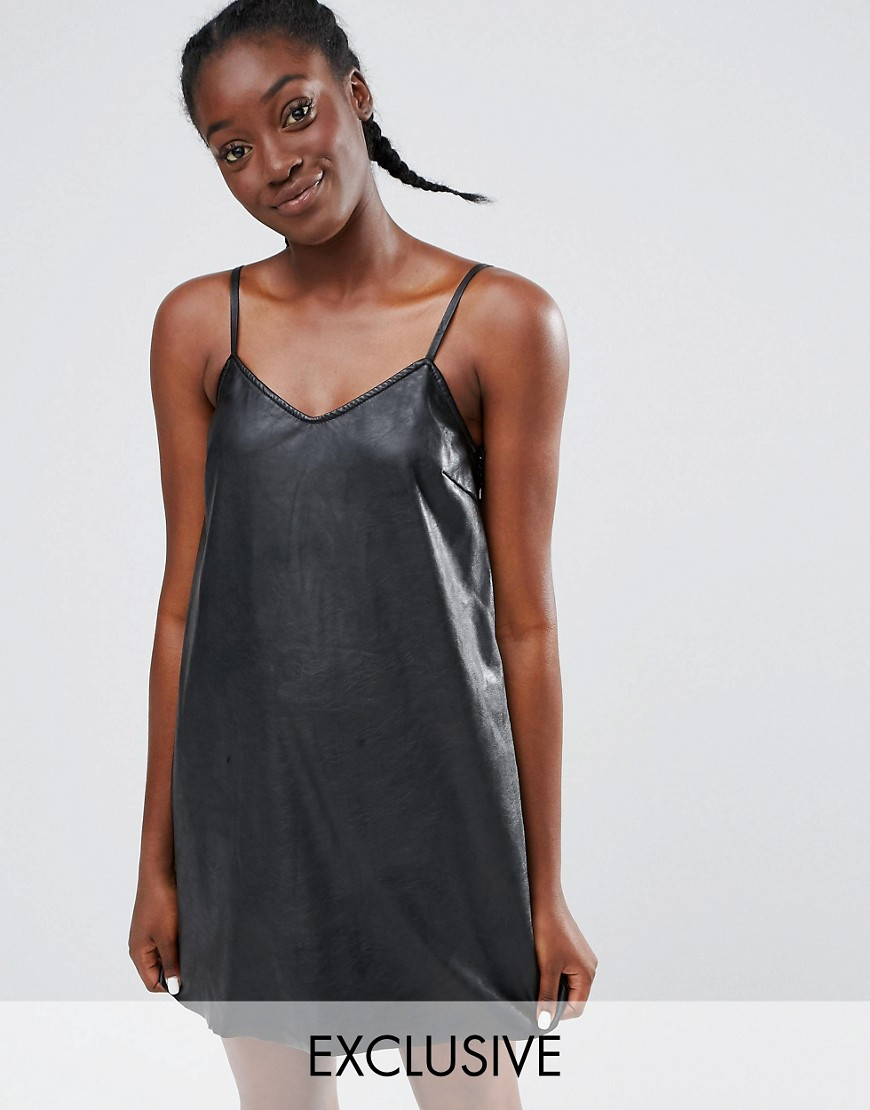 019e91e27ae31 Monki Leather Look Cami Slip Dress at asos.com