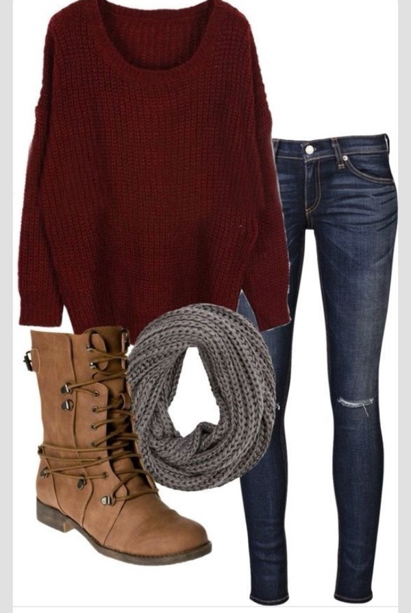 clothes sweater combat boots scarf jeans beautymanifesto