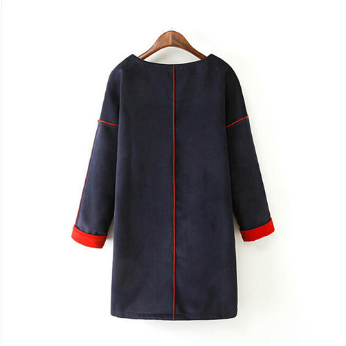 [grxjy56002534]fashion letters print long sleeve round neck woolen dress