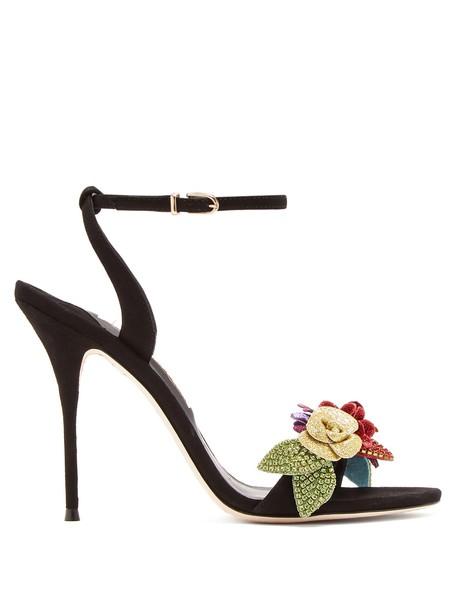 Sophia Webster embellished sandals suede black shoes