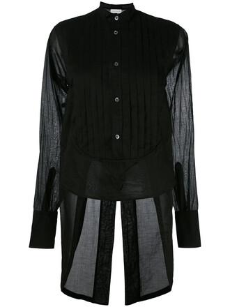 shirt pleated women cotton black top