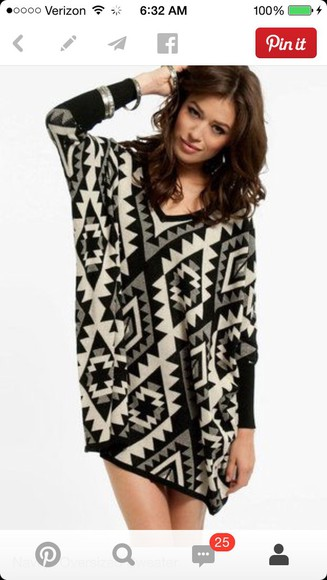 geometric aztec cream loose fitted sleeves loose-fitting style