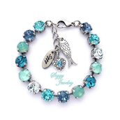 jewels,siggy jewelry,bracelets,aqua,blue,turquoise,opal,sea,seafoam green,bling,charm bracelet,cute,trendy,fish,heart,sparkle,tennis bracelet,stacking bracelet,arm candy,valentines day gift idea,beach,wedding,bridesmaid,beach wedding,etsy,swarovski