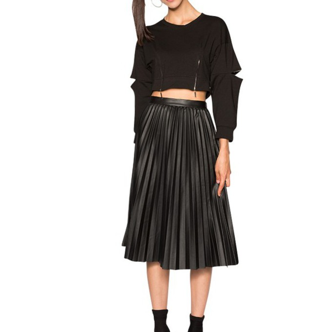 skirt pleated skirt pixie market midi skirt leather midi
