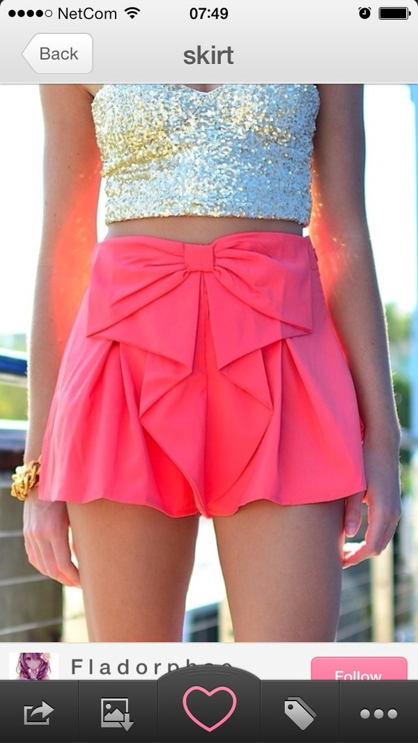 shorts pink bow shirt blouse skirt dress