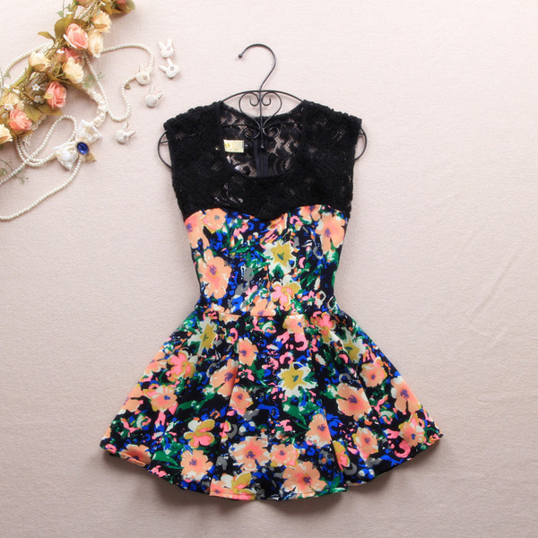 dress flowers short mini lace pink black cute mint